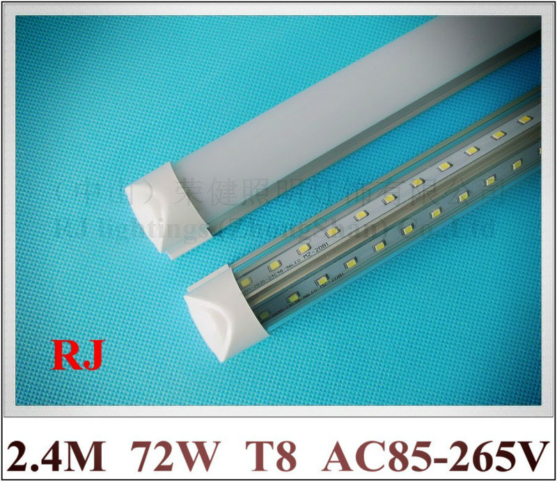 compact integrated LED tube light lamp double row V shape T8 2400mm 2.4M SMD 2835 384led(4*96led) 72W AC85-265V super bright saints row 4 super dangerous wad wad edition