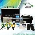 24 em 1 Kit de fibra óptica FTTH ferramenta com localizador Visual de falhas 10 mw óptica power meter