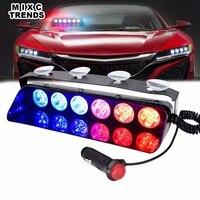 18LED Car Dash Police Strobe Flash Lights 12V Vehicle Dashboard Emergency 10 Flashing Patterns Deck Windshield Warning LED Light