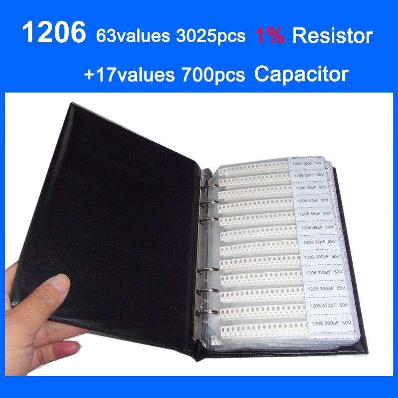 Новый SMD 1206 образец книга 63 значения 3025 шт. 1% комплект резистор и 17 значения 700 шт. конденсатор набор