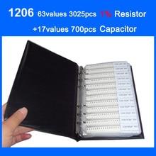 Nuovo SMD 1206 Del Campione Libro 63 valori di 3025 pz 1% Kit Resistenze e 17 valori 700 pz Set Condensatore