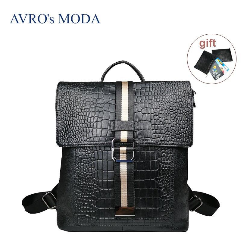AVRO s MODA Brand genuine leather crocodile pattern backpack women 2019 luxury designer ladies large capacity