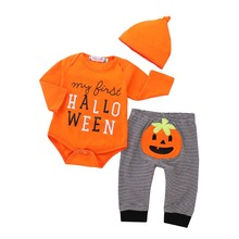 Emotion Moms Cute 3Pcs Newborn Halloween Baby Girls Boys Long Sleeve Cotton Clothes Romper Playsuit Pants Outfits Set emotion moms autumn newborn clothing fashion cotton infant underwear baby boys girls suits set clothes for 0 3m 20pcs set