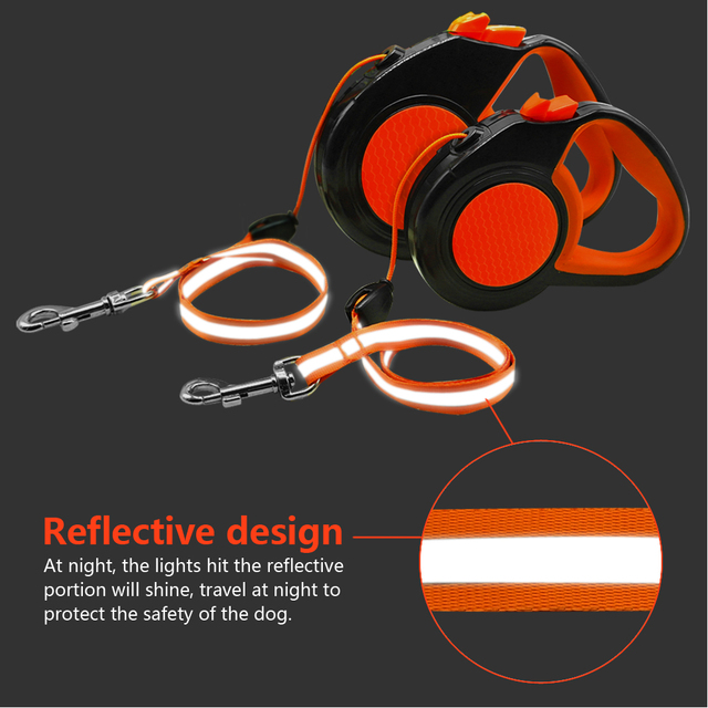 10Ft 16Ft Retractable Dog Leash Automatic Extending Walking Lead Reflective With Free Dog Waste Dispenser For Small Medium Dogs