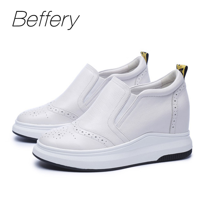 4753238122eb0 Beffery Spring/Summer Genuine Leather Women Casual Shoes Platform Wedge  High heels 7cm Fashion Comfortable Shoes Women Sneakers -in Women's  Vulcanize ...