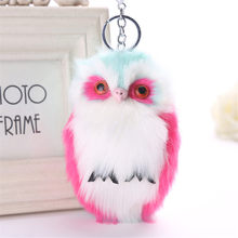 Fancy&Fantsy 15cm Fluffy Owl Keychain Rabbit Fur Pompoms Key Chain For Women Key Chains Charm Car Pendant Key Ring For Handbag(China)