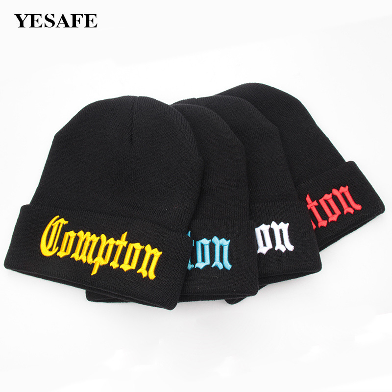 cf0a6b346ba Detail Feedback Questions about Skullies Beanies Compton Acrylic Winter  Beanies Hats Knitted Bonnet Caps Hip Hop Gorros Knitted Hats Men Beanies  Embroidery ...