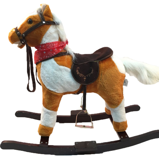 3-8 Years Children Mechanical Walking Rocking Horse Riding Toy Musical Plush Baby Horse Animal Ride Birthday Children's Gifts