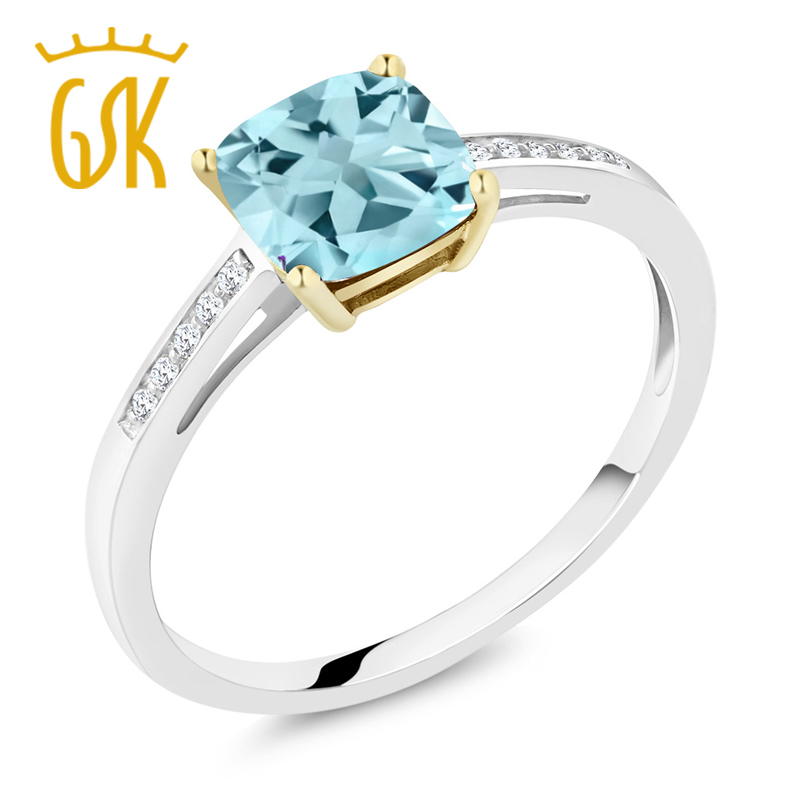1.90 Cttw, 7x7mm Cushion To Win A High Admiration And Is Widely Trusted At Home And Abroad. Faithful 925 Sterling Silver And 10k Yellow Gold Ring Sky Blue Topaz With Diamond Accent