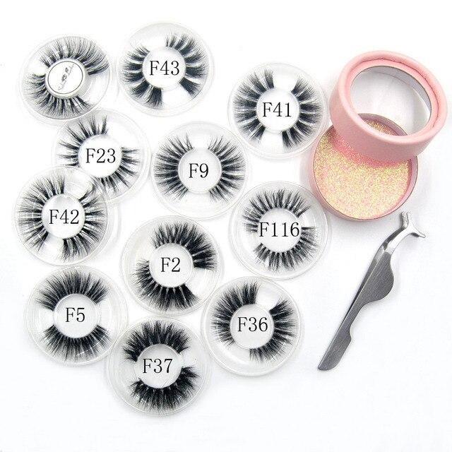 10 estilos visón pestañas 3D las pestañas naturales largos lujosos fino e invisible banda etapa pestañas curl ojo extensiones de círculo Rosa caja