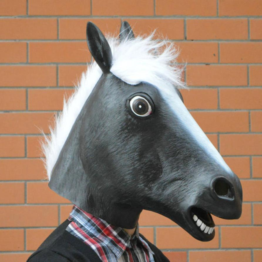 2017 1PC New Arrivals Fashion Halloween Party Horse Latex Mask Full Face Animal Supply Treat Free Shipping , Aug 24