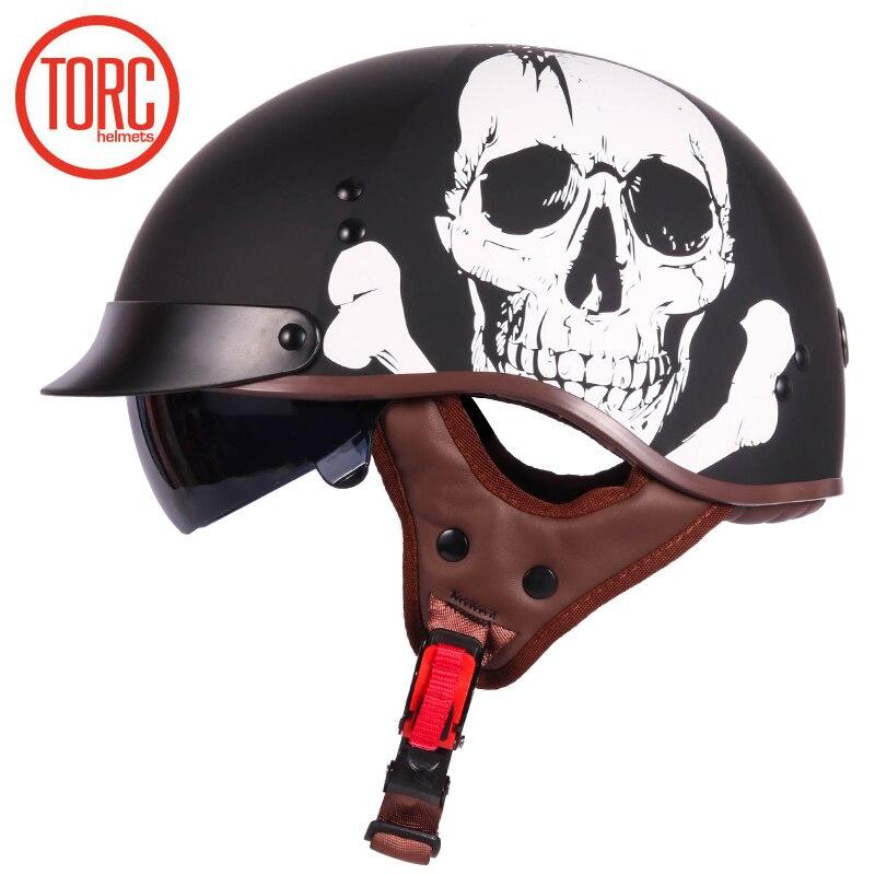 TORC T55 vintage jet motorcycle Harley helmetretro scooter half helmet with Builtin visor lens moto casco DOT For Chopper bikes