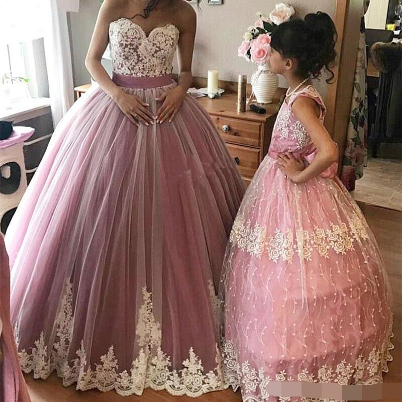 2018-dusty-pink-ball-gown-prom-dresses-sweetheart-lace-appliques-tulle-gorgeous-formal-pageant-party-gowns-quinceanera-dress