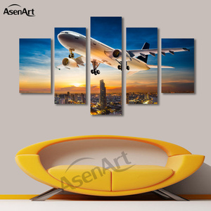 5 Panels Airplane City Painting Sunset Painting Canvas Print Picture for Living Room Wall Art Home Decoration 2016 No Frame