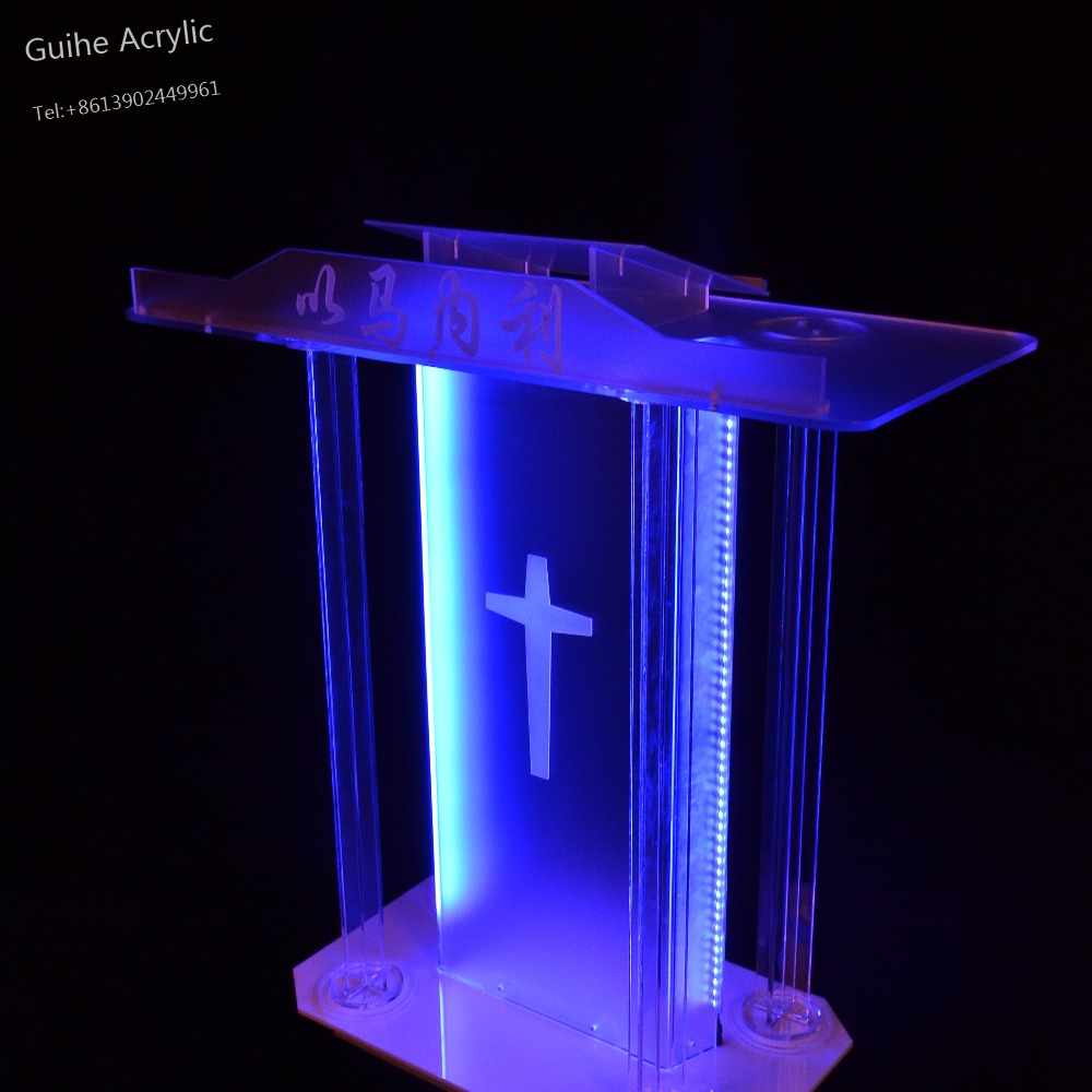 Fixture Displays Truss acrylic podium pulpit lectern church school restaurant reception with Cup Holder Reception Desk