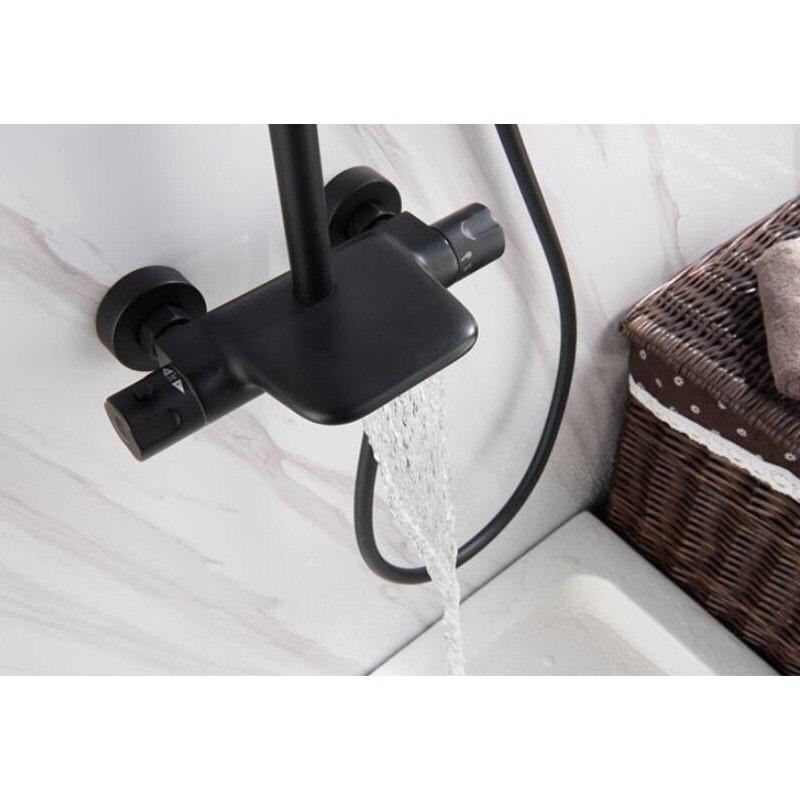 Ensemble de robinet de bain et de douche thermostatique brossé à l'huile noire pour salle de bain - 6