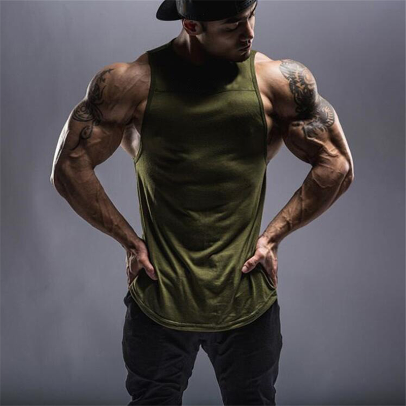 New Fashion Brand Fitness Clothing Bodybuilding Gyms   Tank     Tops   Men Fitness Sleeveless Vest Cotton Singlets Blank Muscle Shirt