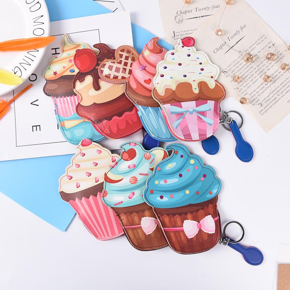 cute mini Cupcake women wallets for girls coin purses creative cartoon key chain leather card holder Ice cream money price gift