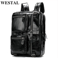 WESTAL 2019 Fashion Men Backpack Leather Multifunctional School Bags for Teenager Large Capacity Travel Backpacks Laptop Bags