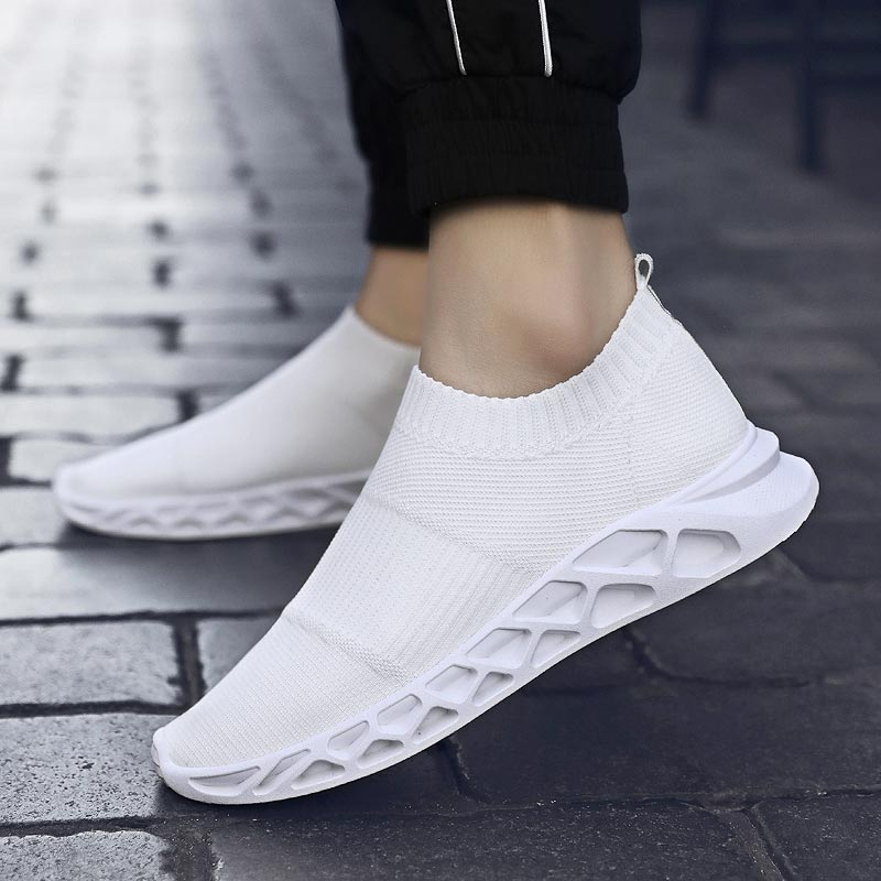 Slip-on Men's Sneakers Summer Running Shoes For Men Sport Shoes Man Sports Shoes White Chaussure Homme Trainer Footwear B-214