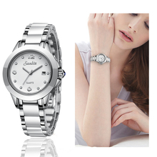 SUNKTA Lady Fashion Rose Gold Quartz Crystal Women Watch Ceramics Watchband Casual Waterproof watch Gift for Wife2019