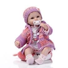 NPK 17 '' Puha szilikon teljes test élethű újjászületett baba babák Real Touch baba Lovely Újszülött Baba lila pulóver Suit Kid Playmate