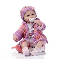 NPK 17'' Soft Silicone Full Body Lifelike Reborn Baby Dolls Real Touch Doll Lovely Newborn Baby Purple Sweater Suit Kid Playmate