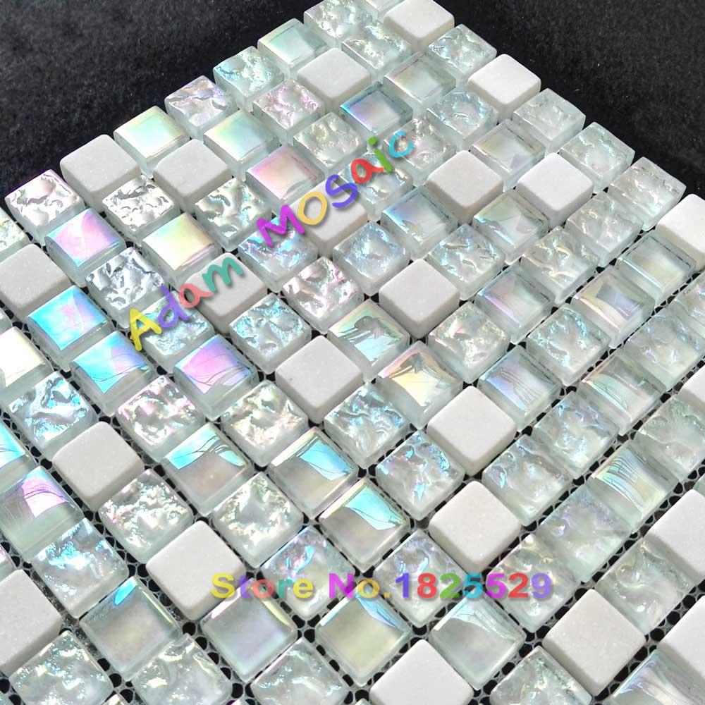backsplash tile white glass mosaic kitchen iridescent tiles subway ...