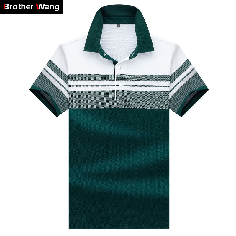 2019 New Summer Men's Short Sleeve   Polo   Shirt Business Casual Fashion Stripe Splicing Straight   Polo   Male Brand Clothes