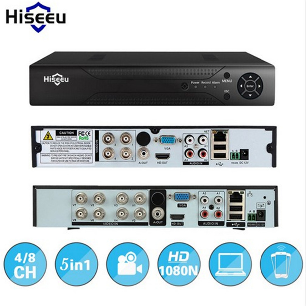 hiseeu CCTV Mini DVR 4CH 8CH 1080P Digital Video Recorder For AHD Camera IP Camera H.264 NVR Security Surveillance System P2P teate ahd 960h 8ch 900tvl cctv video surveillance system onvif nvr dvr recorder kit 8ch home security camera surveillance ck 159