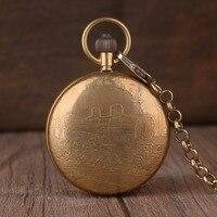 Luxury Golden Train Pocket Watch Copper Made Steampunk Mechanical Hand Wind Fob Clock Men Women Unisex Gift