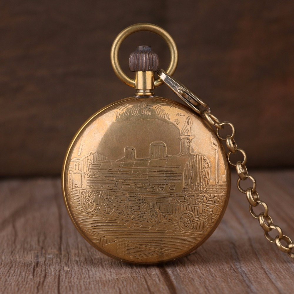 Luxury Golden Train Pocket Watch Copper Made Steampunk Mechanical Hand Wind Fob Clock Men Women Unisex Gift