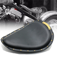 Universal Motorcycle Retro Brown Black Leather Solo Seat for Harley Custom Chopper Bobber Leather Saddle Seat