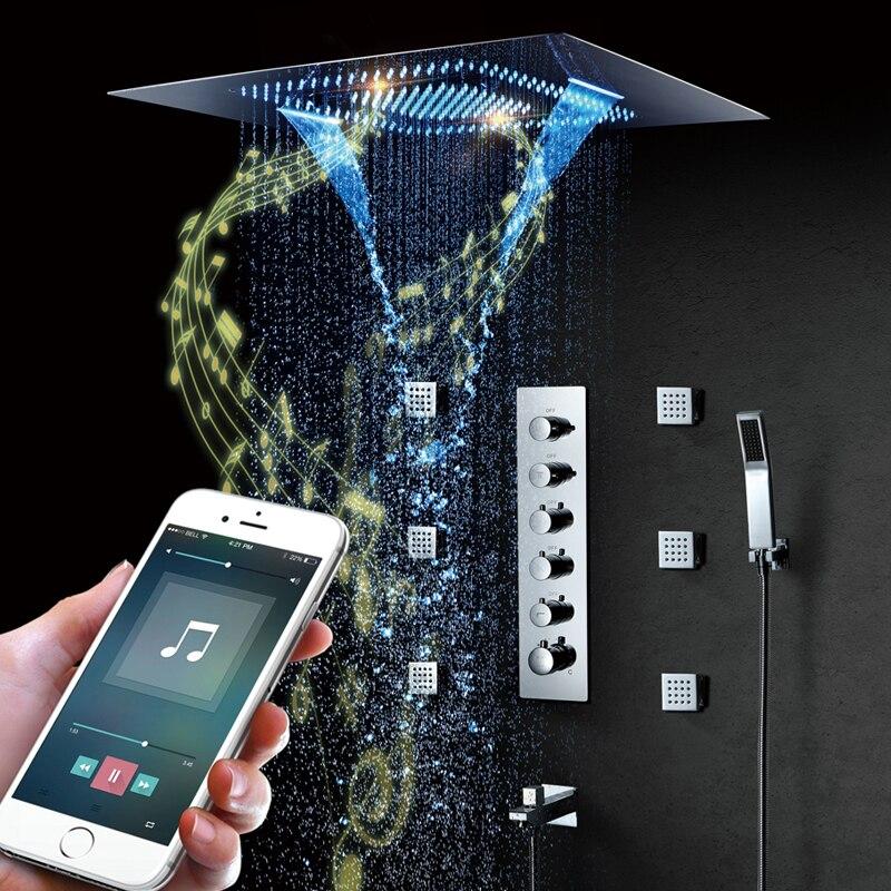 Música LED cabeça de Chuveiro 800*600mm Orador Unidade de Spray Cachoeira Chuvas Chuveiro Casa de Banho Termostático Chuveiro Torneiras Chuveiros