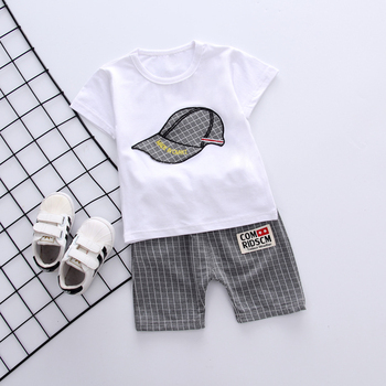 Newborn White Gray Baby Boy Summer Clothing Sets For Kids