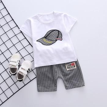 Newborn White Gray Baby Boy Summer Clothing Sets For Kids