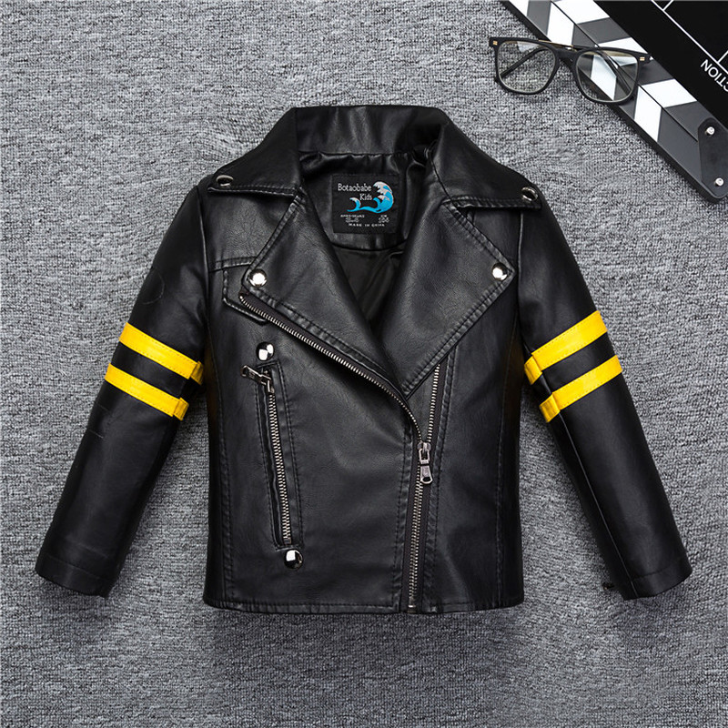 aaa527e71 Yellow Striped Boys Girls Leather Jacket for Autumn Spring Kids ...