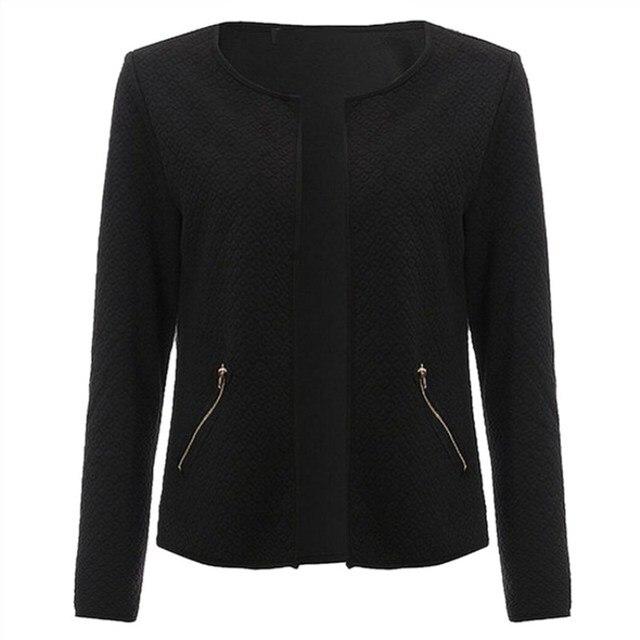 plus size s-4xml Women Jacket 2017 Spring Autumn Women Basic Jacket Long Sleeve Pockets Slim Short Cardigan Coat Casual Outwear 2