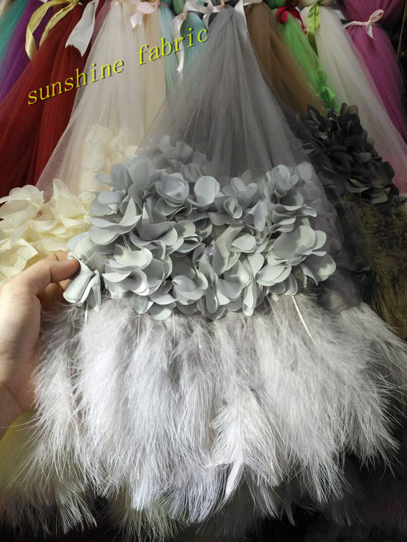 Luxury 3d flower feather embroidery lace fabric Handmade DIY clothing  accessories materials Bridal french lace 51ce0514c6c5