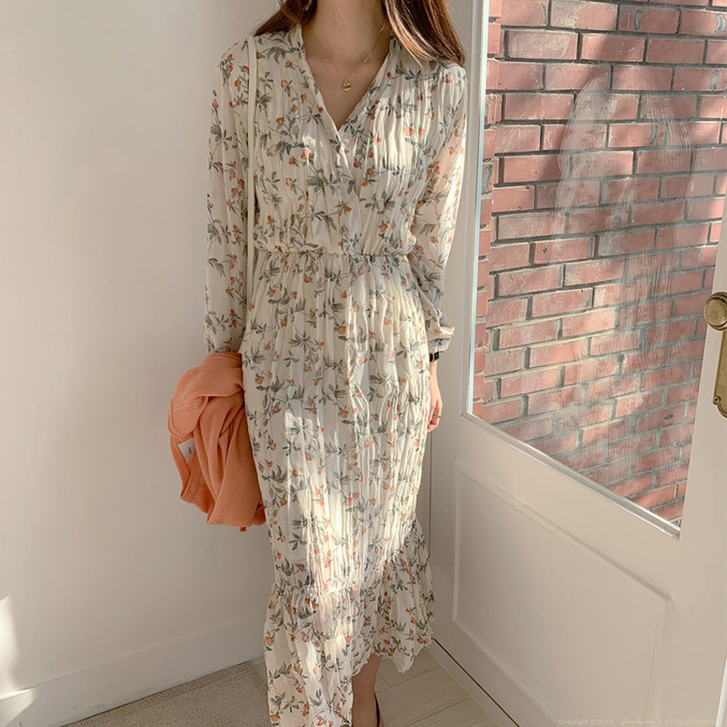BGTEEVER Elegant Ruched Floral Print Women Autumn Dress Sexy V-neck Full Sleeve Female Long Dresses 2020 Spring Chiffon Vestidos