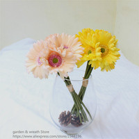 Искусственные цветы большой Дейзи 7 шт. в букет свадебные цветы композиция украшения дома белый красный синий зеленый, желтый, фиолетовый