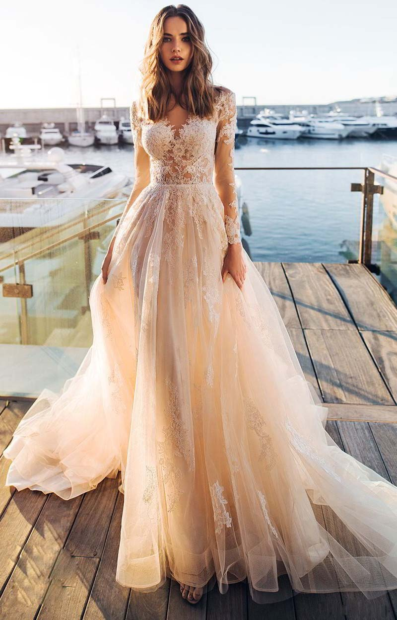 LORIE Light Champagne Wedding Dress Long Sleeves Appliqued Bride Dress A-Line Tulle Bride Wedding Gowns Wedding Gowns Boho