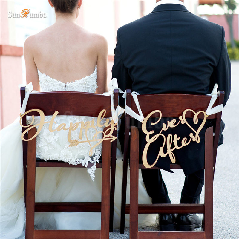 2pcs/set Happily Ever After Rustic Wedding Sign Decor Ideas For Chairs Hanging Signs Party Decorations Wood Wedding Decoration