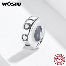 WOSTU SÌ, LO Faccio In Silicone Spacer Fermacorda e ganci 100% 925 Sterling Silver Beads Accessori Dei Monili Del Braccialetto di Fascino Misura Originale FIC1215(China)