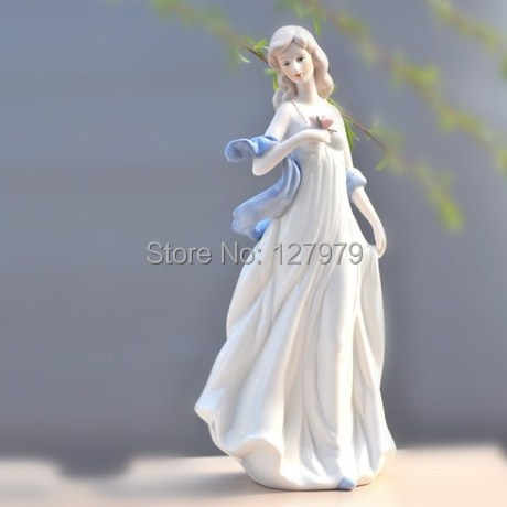 Modest girl ceramic crafts porcelain decor Lady Take flowers love wedding gift figure statue study living room girl Ornament
