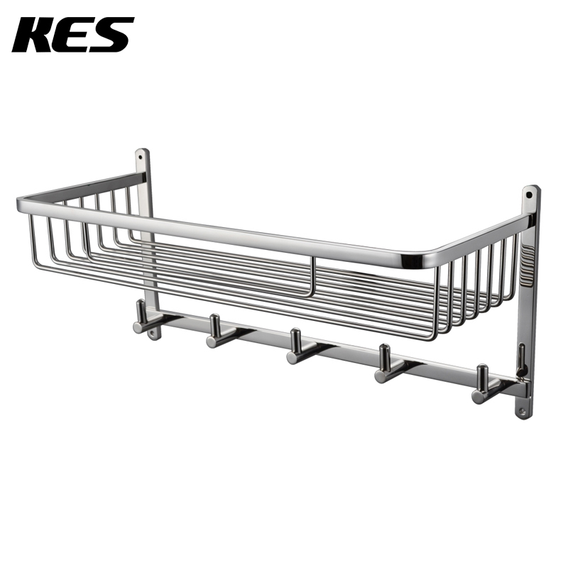 KES A212er Wall Mount, Polished /Brushed (A2128-2)8 Bathroom Lavatory Rectangular Basket Shelf with Towel Hook Hang copper bathroom shelf basket soap dish copper storage holder silver