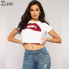ZL BD Sexy Crop Top Women Summer Harajuku Red Lips Sequined Slim T-Shirt  Short 62a90ab5ec2e