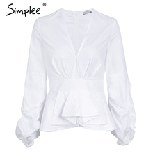 Simplee Ruffle v neck stripe blouse shirt Women tops casual streetwear white blouse Elegant cotton 2017 autumn blouse female