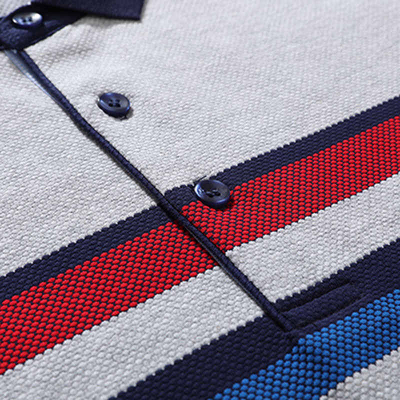 XXXL Summer Men's Striped Cotton Polo Shirts Brand Straight Tops Tees Short Sleeve Shirt Casual Contrast Color Men ZHAN DI JI PU