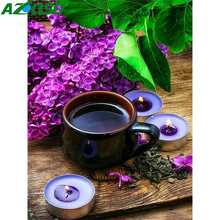 AZQSD Diamond Painting Coffee Cup Mosaic Scenery Cross Stitch Picture Of Rhinestoneds Home Decoration Craft Kit Gift